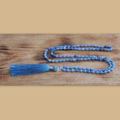 japa mala, cestovní talisman, minerální kameny, avanturín, křišťál, modrá