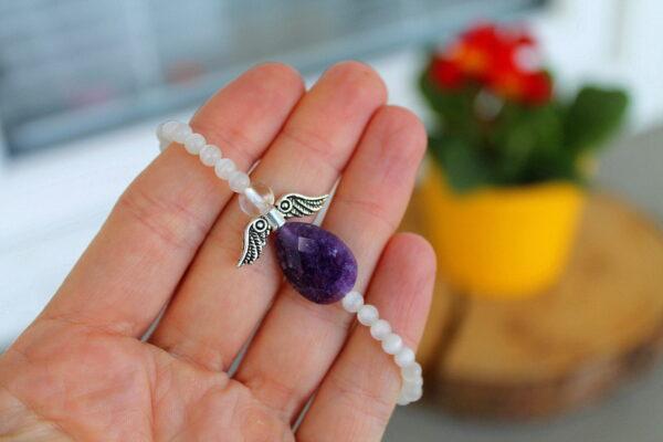 náremek, minerální kameny, andílek, ametyst, měsíční kámen, dárek