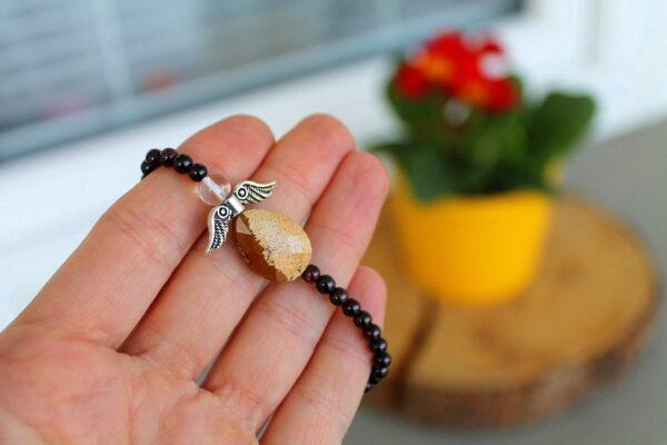 náramek, jaspis, granát, dárek, minerální kameny, andílek